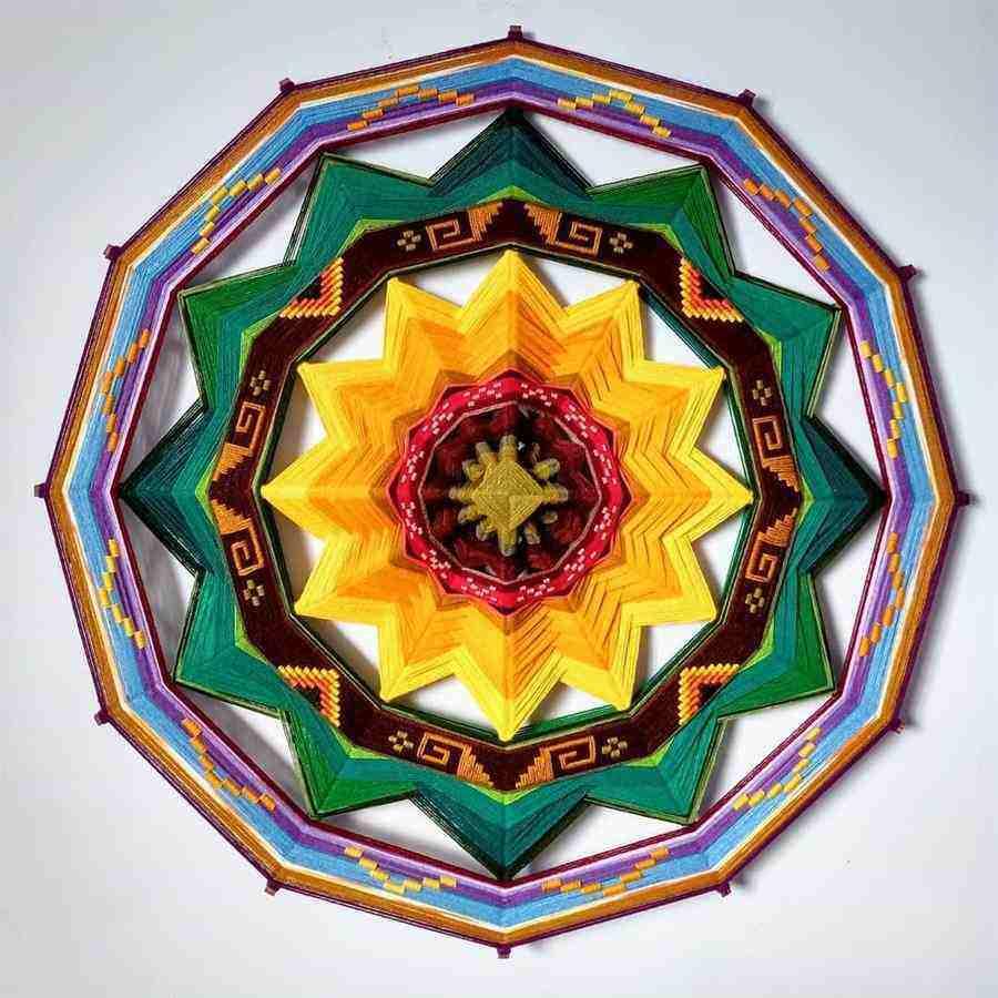 Mandala de lã girassol
