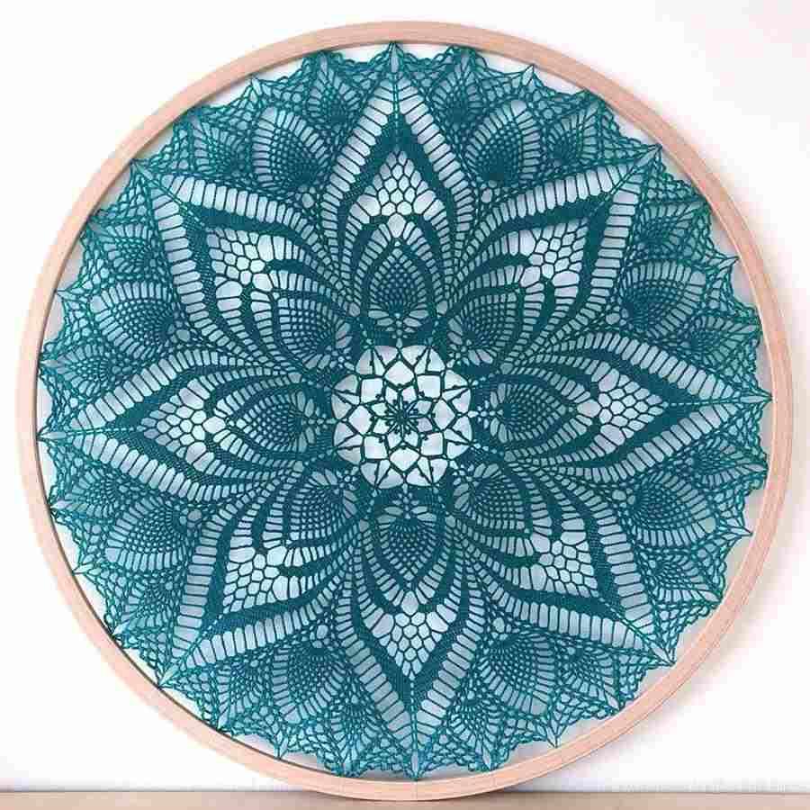mandala de crochê azul