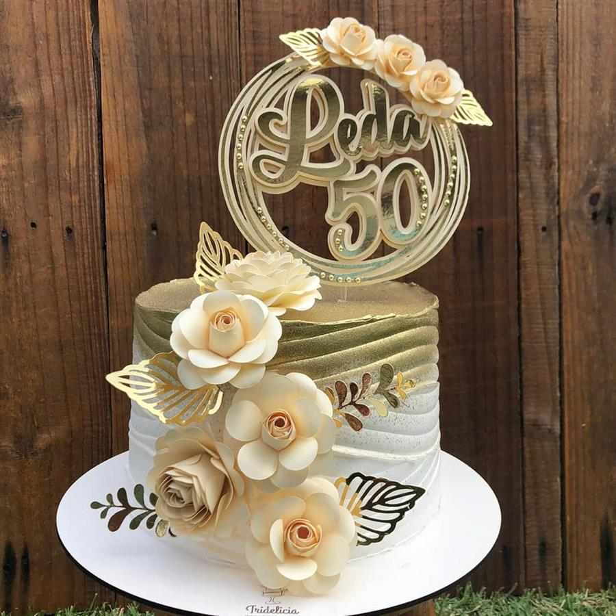 Bolo decorado feminino 50 anos
