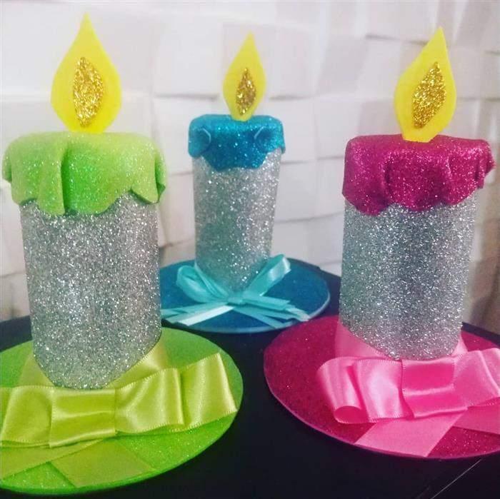 artesanato com rolo de papel higiênico vela