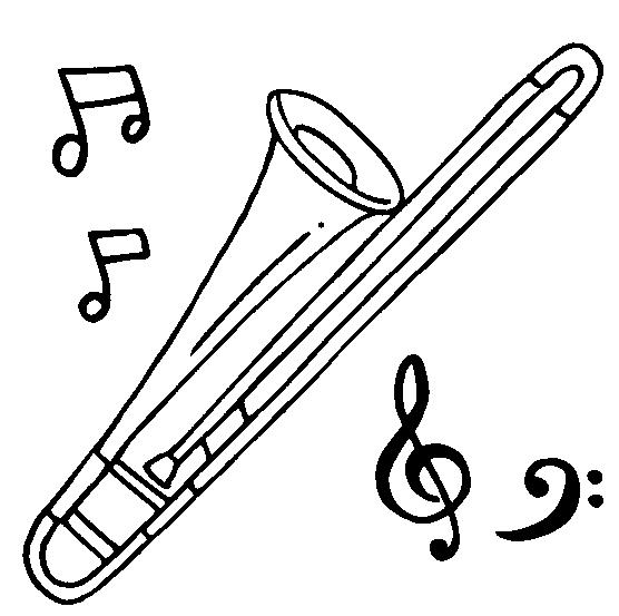 trombone para colorir