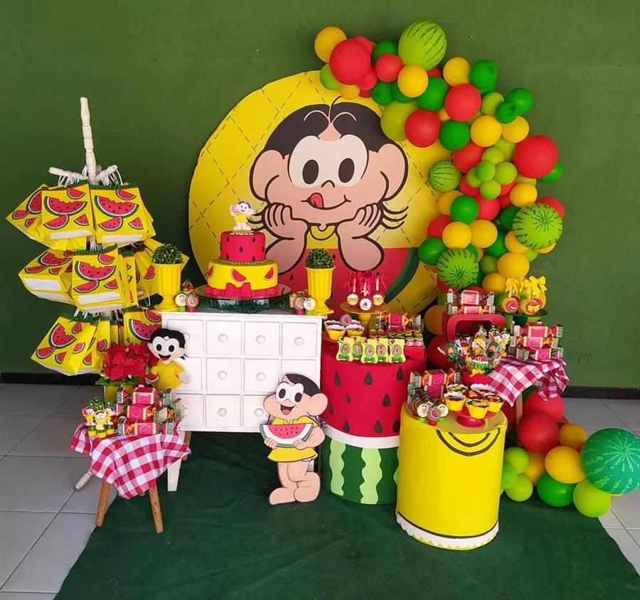 Festa da Magali com painel redondo