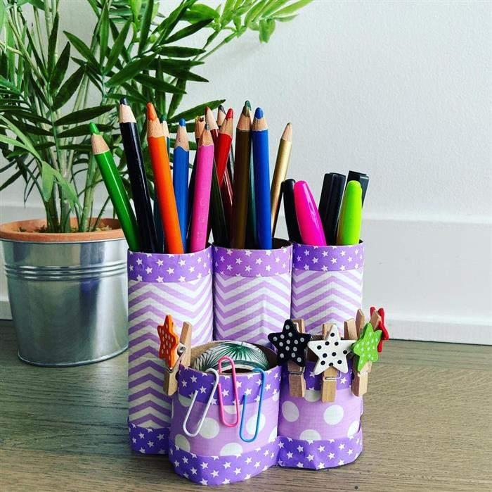 porta lápis com rolinhos