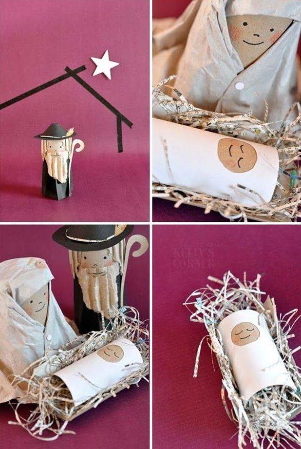 presépio de natal com material reciclado