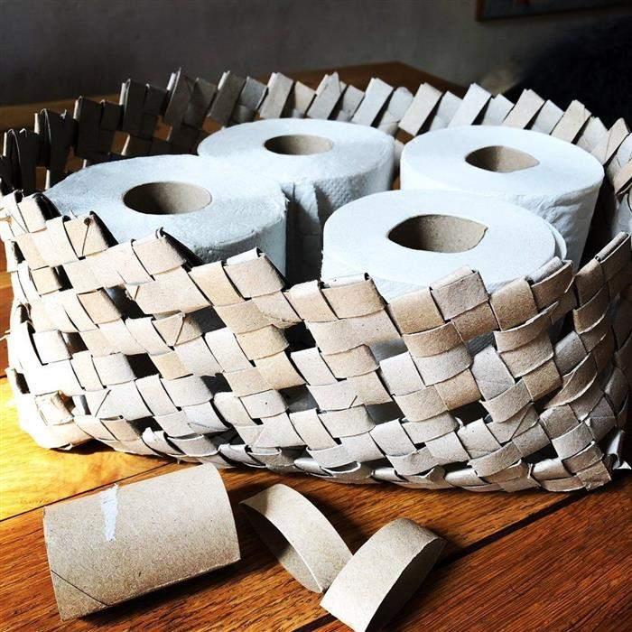cesto organizador de material reciclado