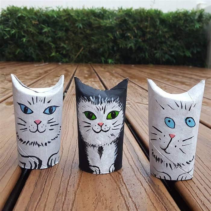 gatinho decorativos com material reciclado