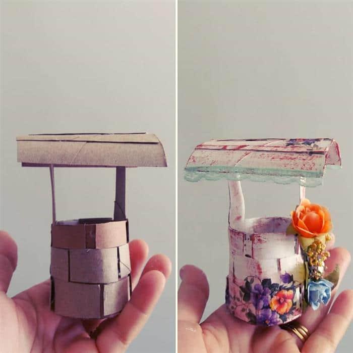 poço feito com rolo de papel higienico