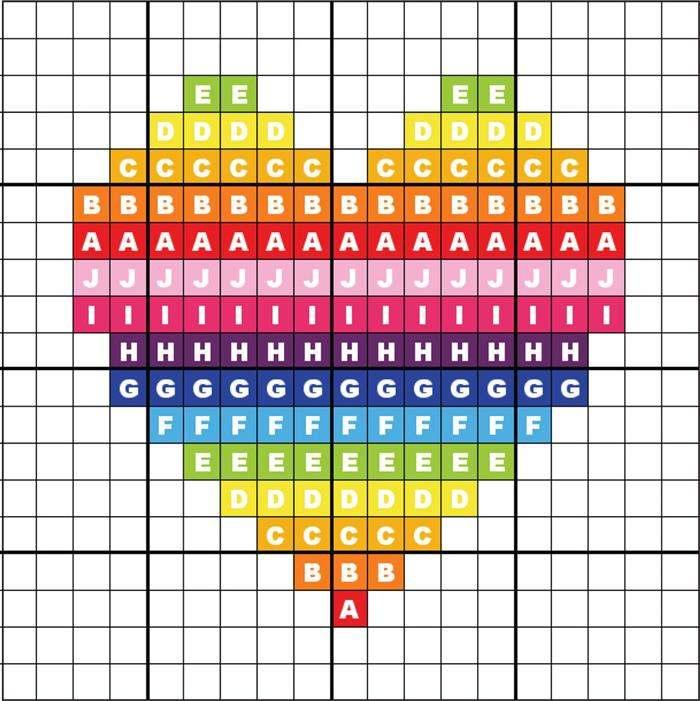Gráfico de coração em ponto cruz