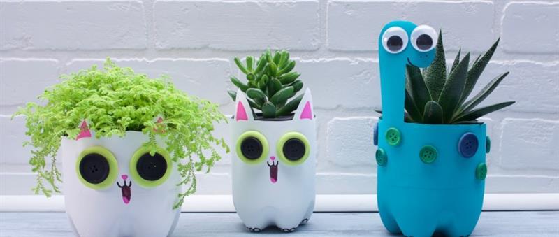 vasinhos de plantas com garrafa PET