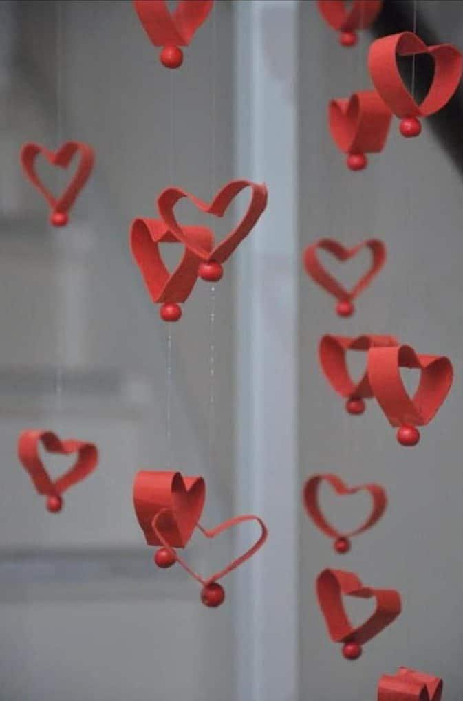 cortina de coração de rolinho