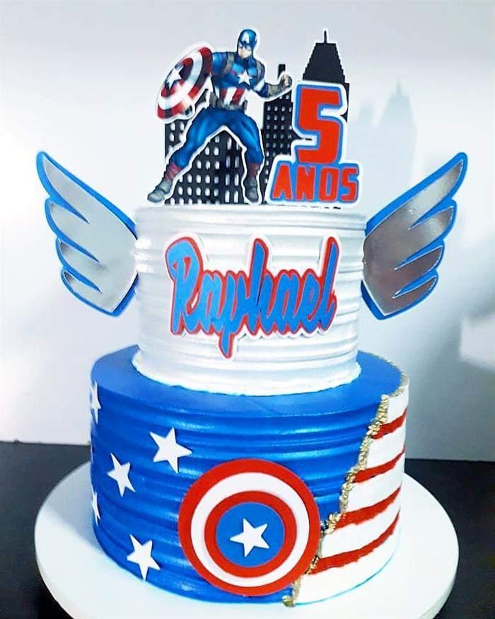 bolo com asas capitão america andares