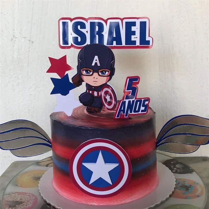 bolo com topo impresso capitão america