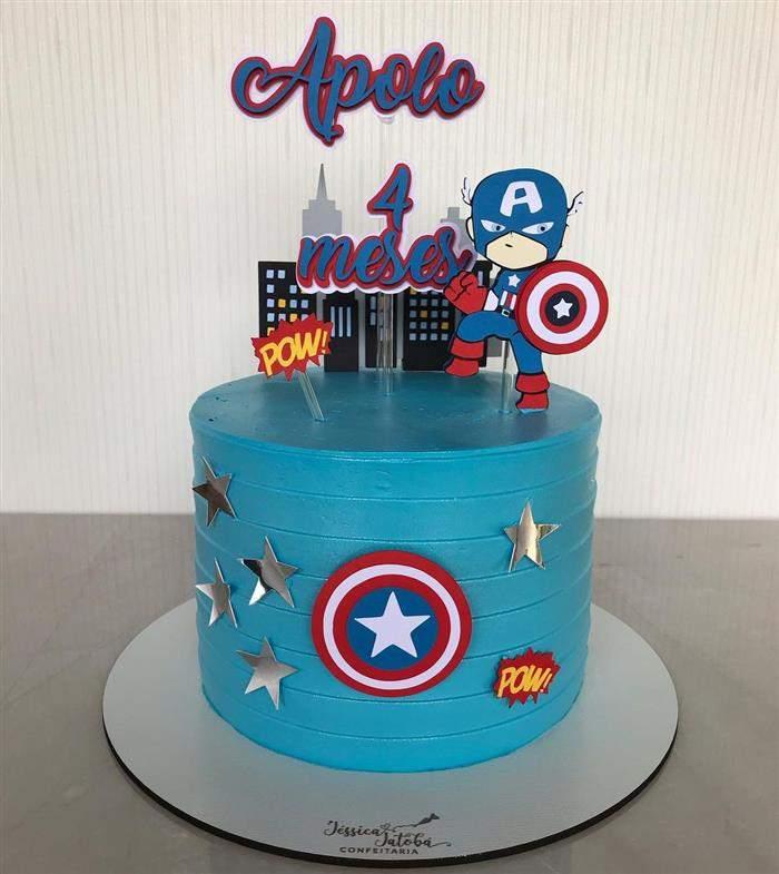 bolo capitão america azul claro