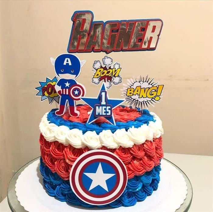 bolo do capitão américa com chantilly