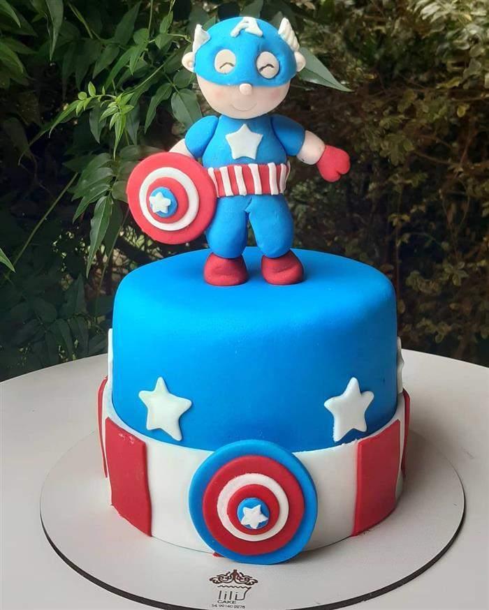bolo do capitão américa de pasta americana