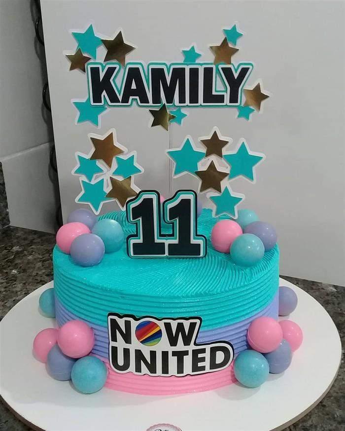 bolo now united rosa e azul