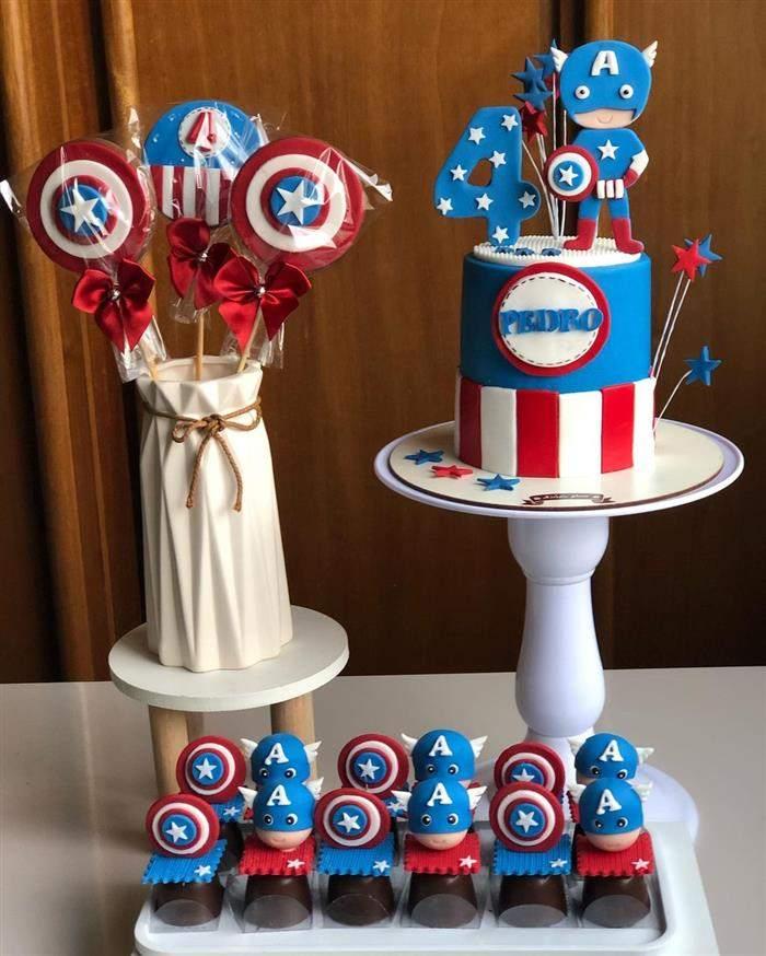 bolo para festa do capitão america