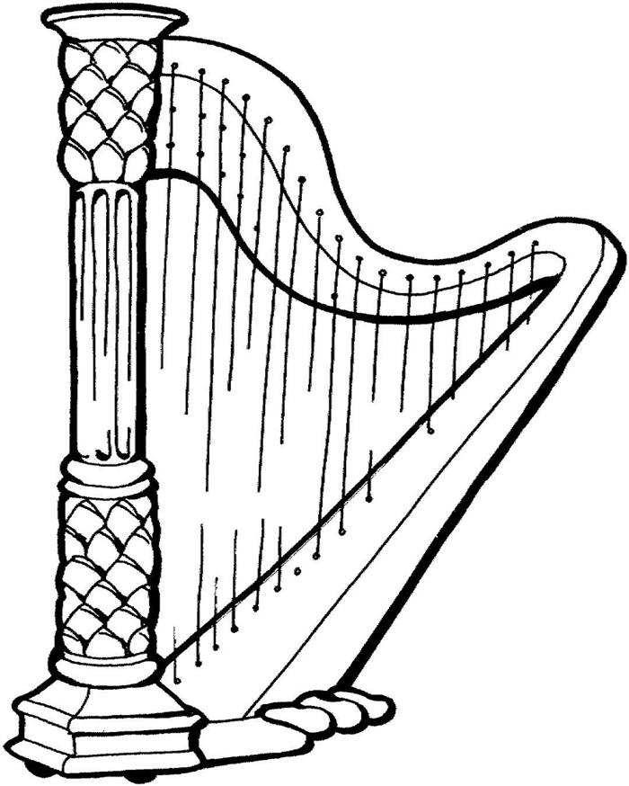 harpa para colorir