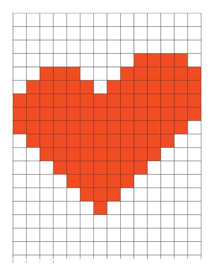 coração em ponto cruz