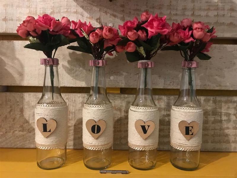 garrafas decoradas LOVE