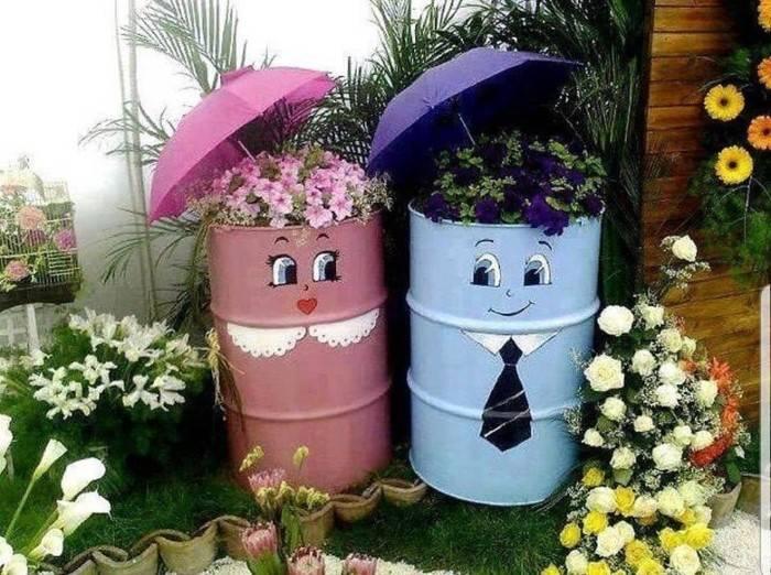 ideias com latas de lixo coloridas
