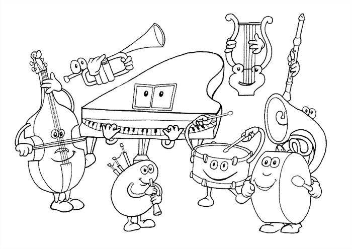 desenhos de instrumentos musicais para colorir