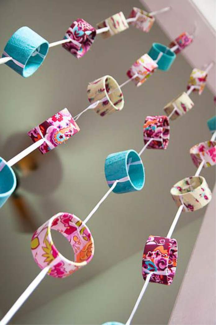 artesanato com rolo de papel higienico cortina
