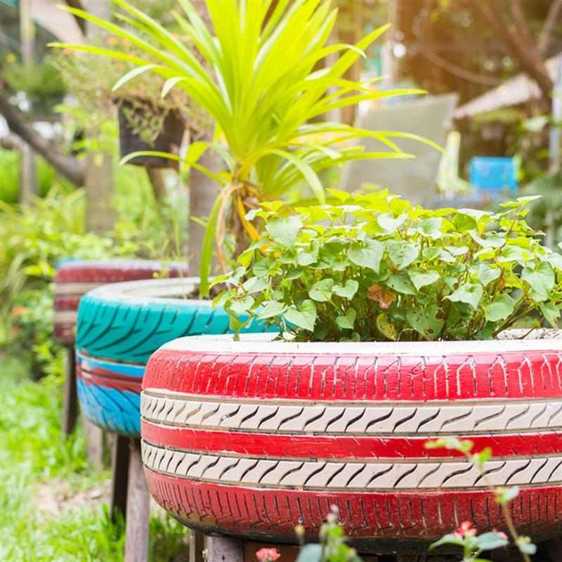 Pneu reciclado para jardim