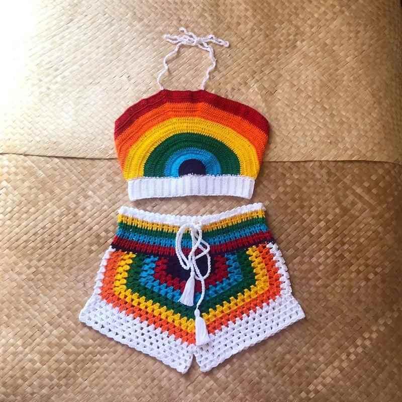 Conjunto de crochê infantil arco íris