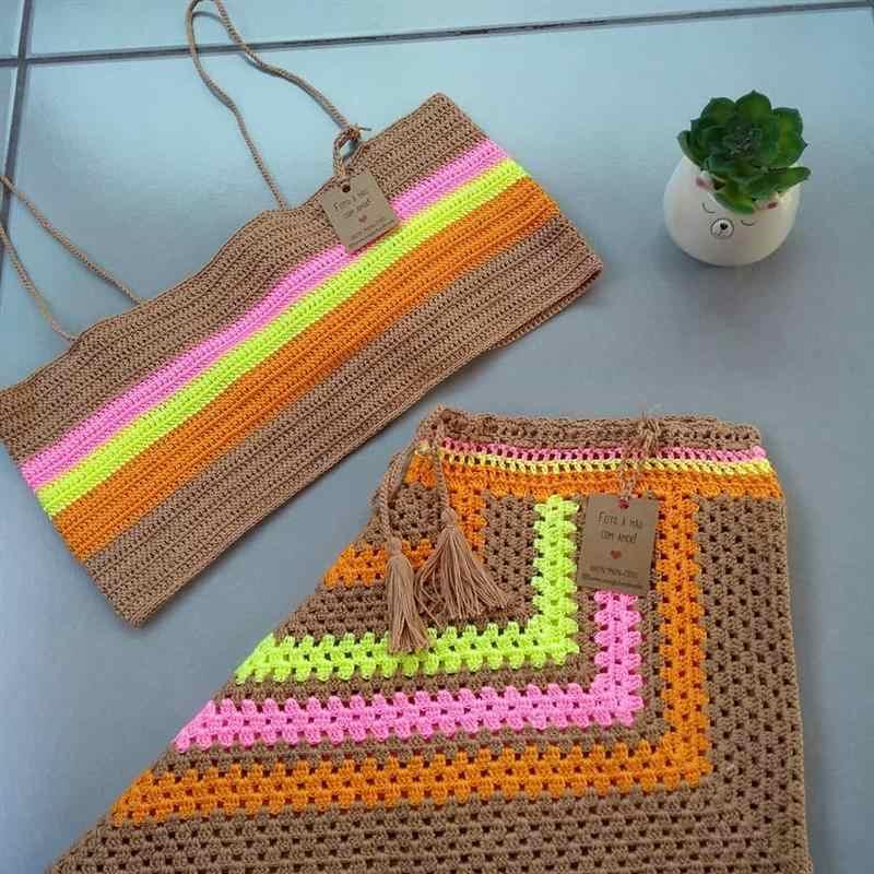 conjunto de crochê short e top