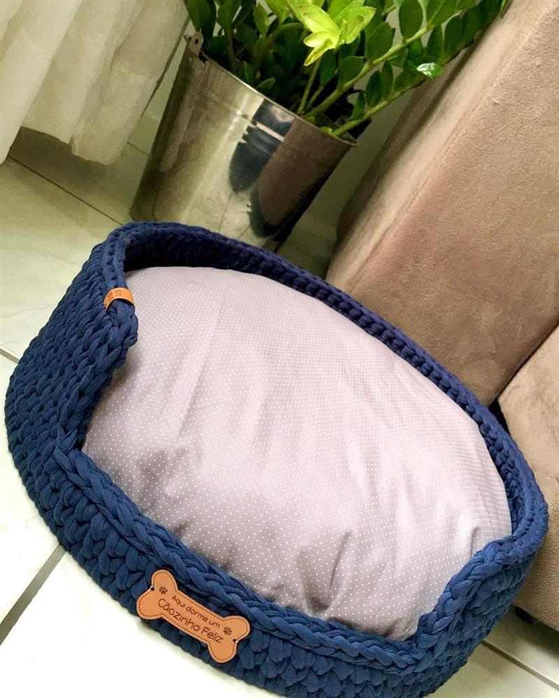 cama para cachorro de croche