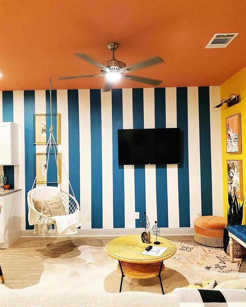 pintura de parede com fita para sala