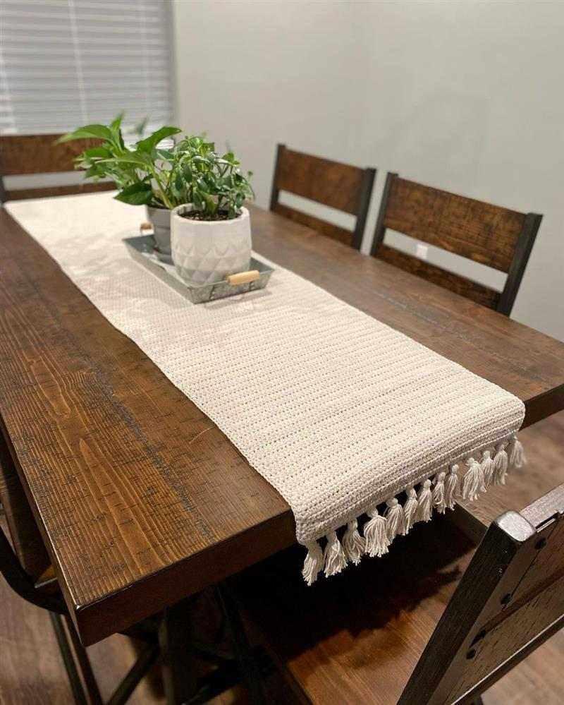 trilho de mesa em crochê simples