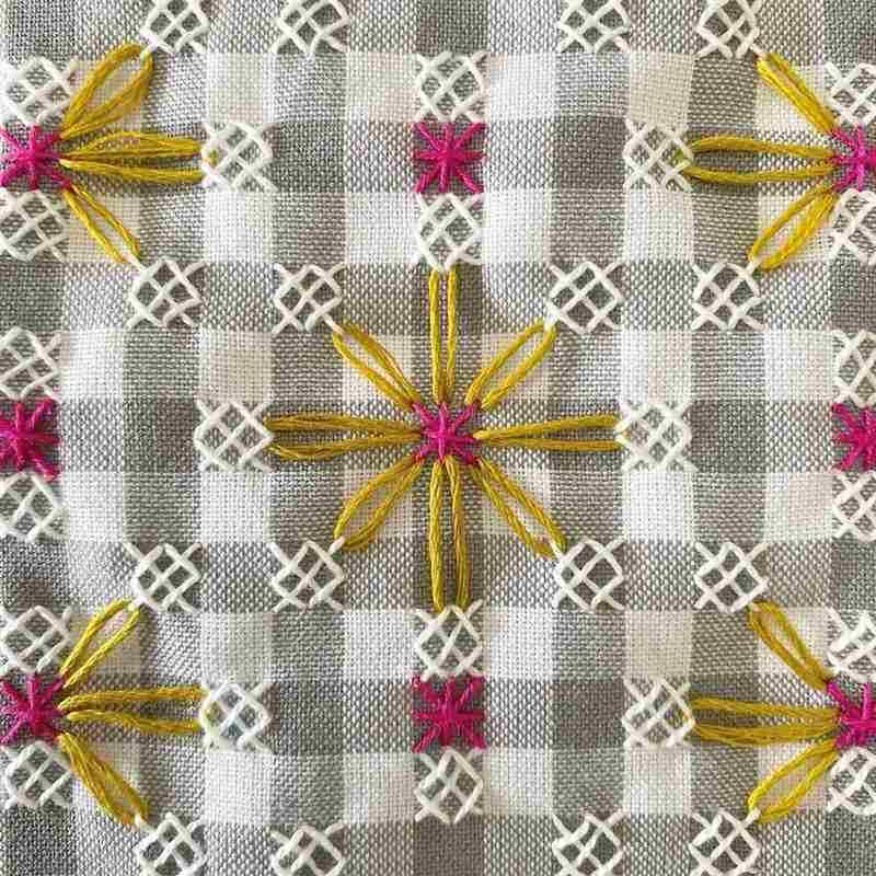 bordado em tecido xadrez passo a passo