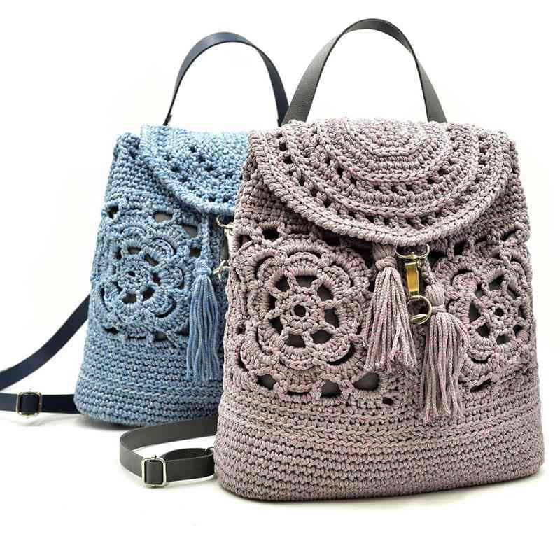 mochila de croche da moda