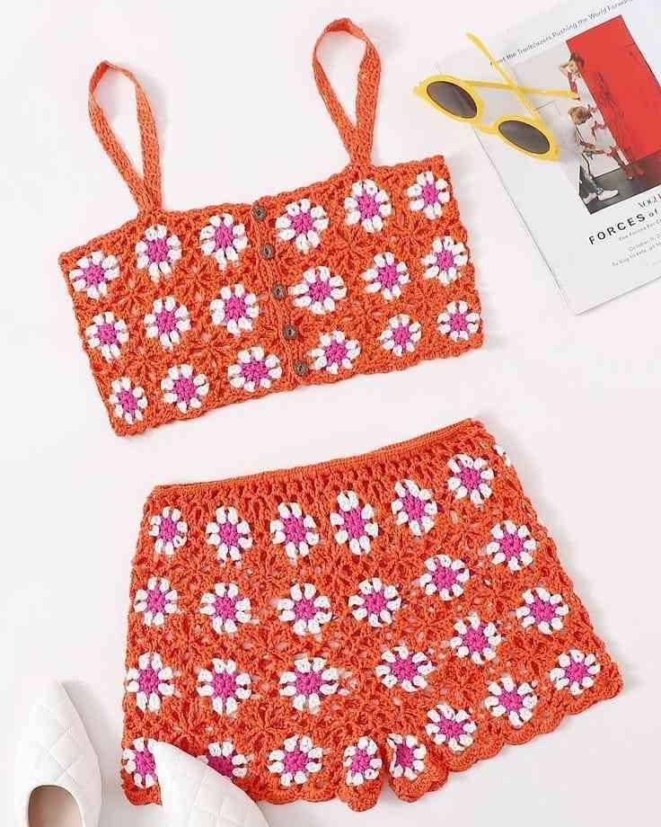 conjunto em croche floral