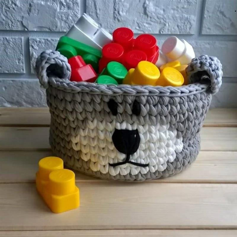 cesto com cara de urso