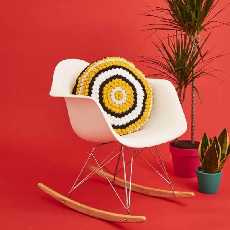 Capa de almofada de crochê redonda