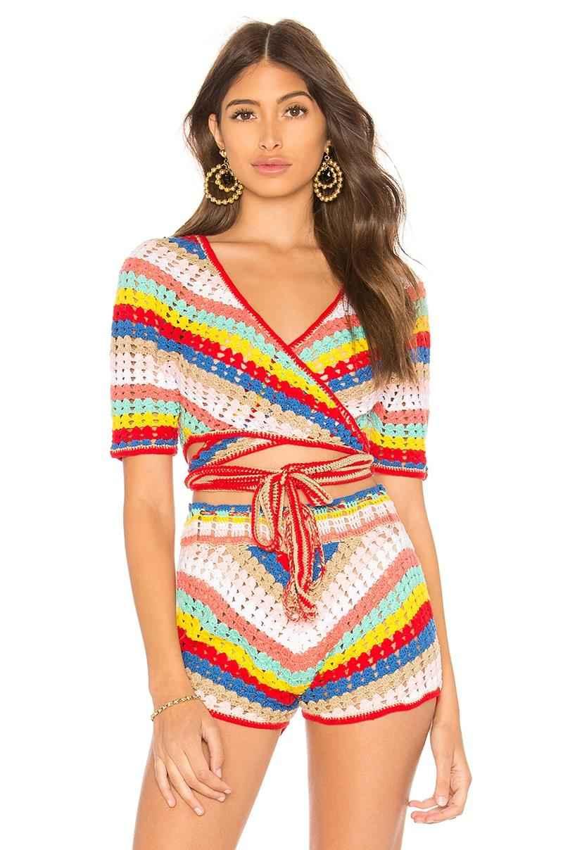 conjunto de crochê short e blusa
