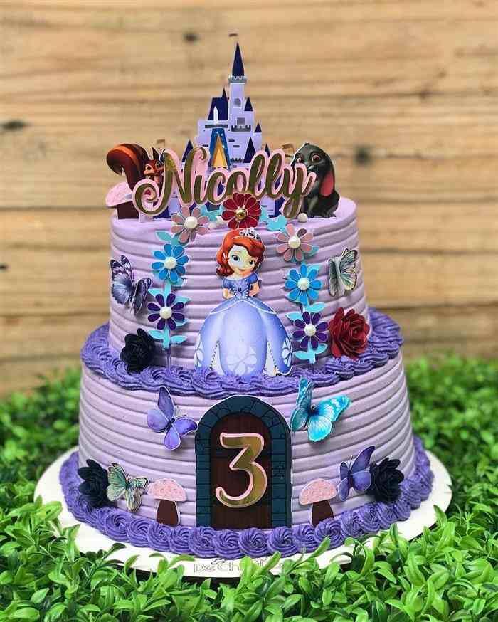bolo da princesa sofia de 2 andares