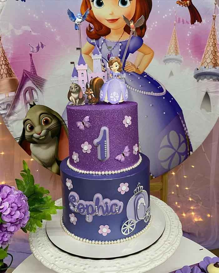 bolo da princesa sofia de dois andares