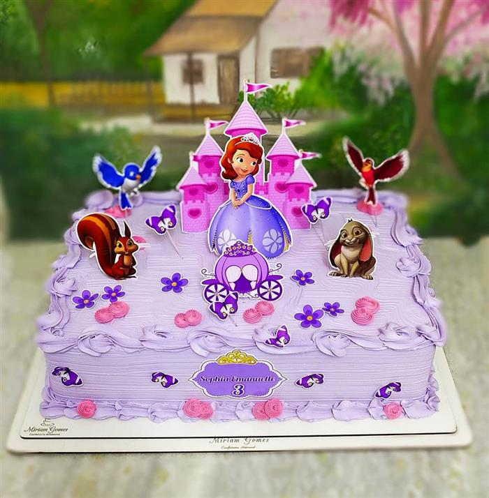 bolo da princesa sofia quadrado
