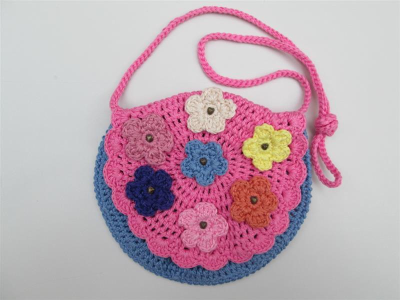 Bolsa em crochê infantil rosa e azul