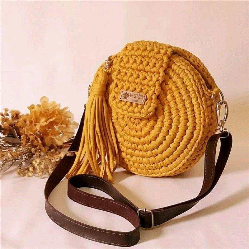 bolsa de croche redonda com ziper