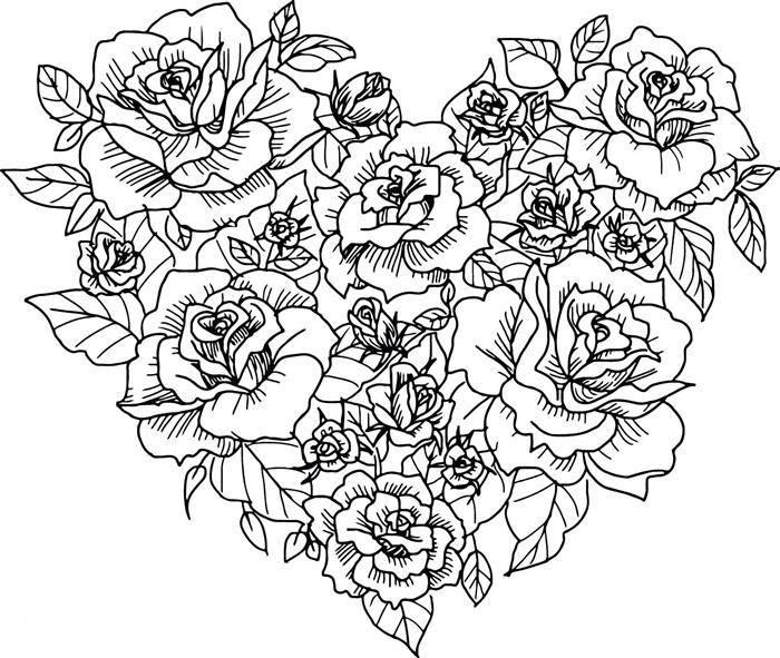 coração de flores para colorir