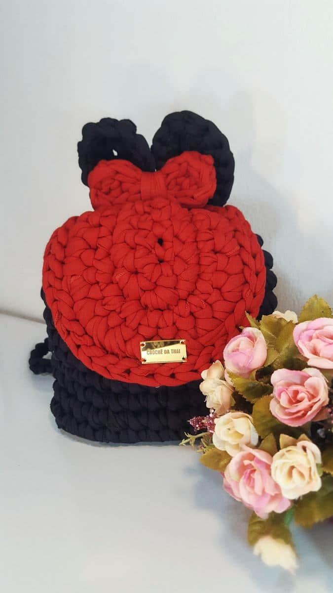 Mochila Minnie preta e vermelha