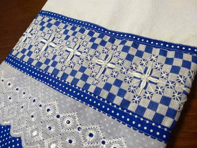 Pano xadrez azul e branco