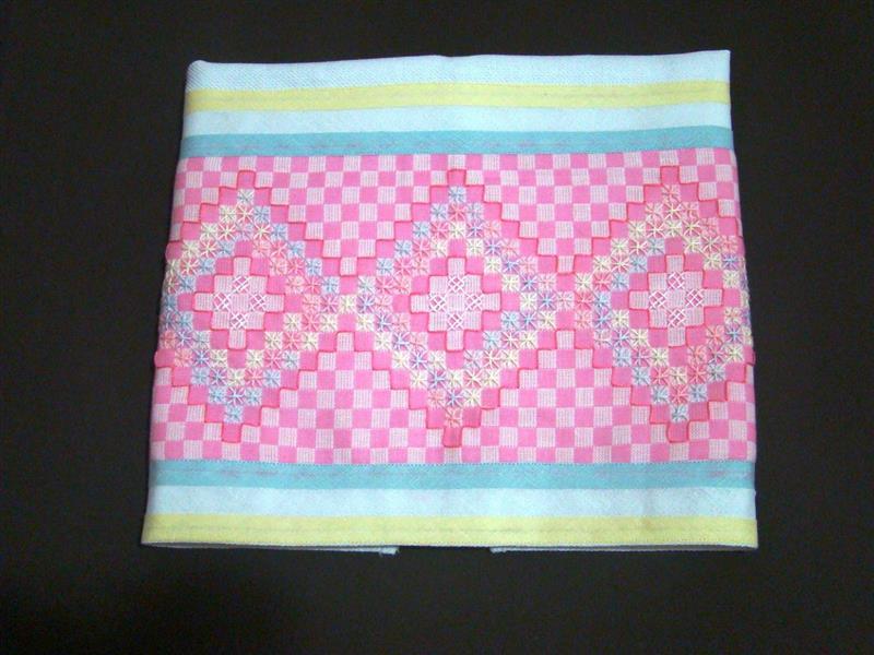 bordado em tecido xadrez pano de copa