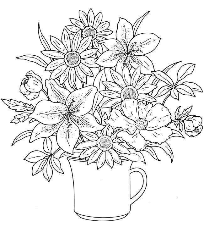 vaso de flores para colorir