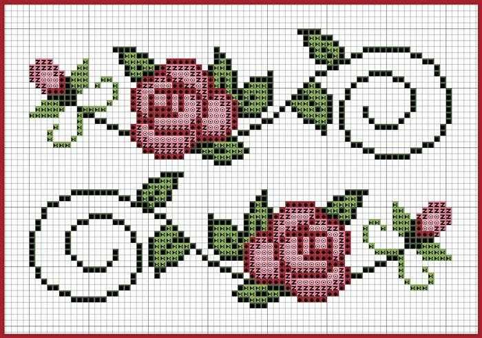 gráficos ponto cruz flores delicadas rosas